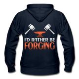I'd Rather Be Forging Blacksmith Forge Hammer Gildan Heavy Blend Women's Zip Hoodie - navy