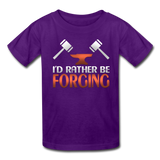 I'd Rather Be Forging Blacksmith Forge Hammer Kids' T-Shirt - purple