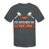 I'd Rather Be Forging Blacksmith Forge Hammer Kids' Moisture Wicking Performance T-Shirt - charcoal