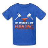 I'd Rather Be Forging Blacksmith Forge Hammer Gildan Ultra Cotton Youth T-Shirt - royal blue