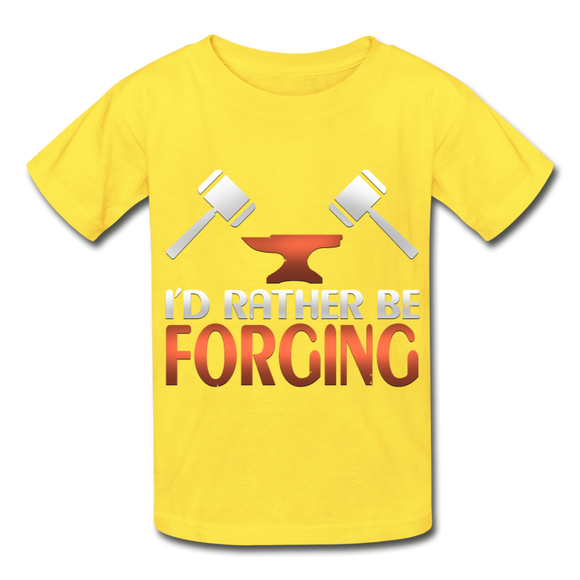 I'd Rather Be Forging Blacksmith Forge Hammer Hanes Youth Tagless T-Shirt - yellow