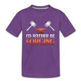 I'd Rather Be Forging Blacksmith Forge Hammer Toddler Premium T-Shirt - purple