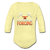 I'd Rather Be Forging Blacksmith Forge Hammer Organic Long Sleeve Baby Bodysuit - washed yellow