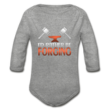 I'd Rather Be Forging Blacksmith Forge Hammer Organic Long Sleeve Baby Bodysuit - heather gray