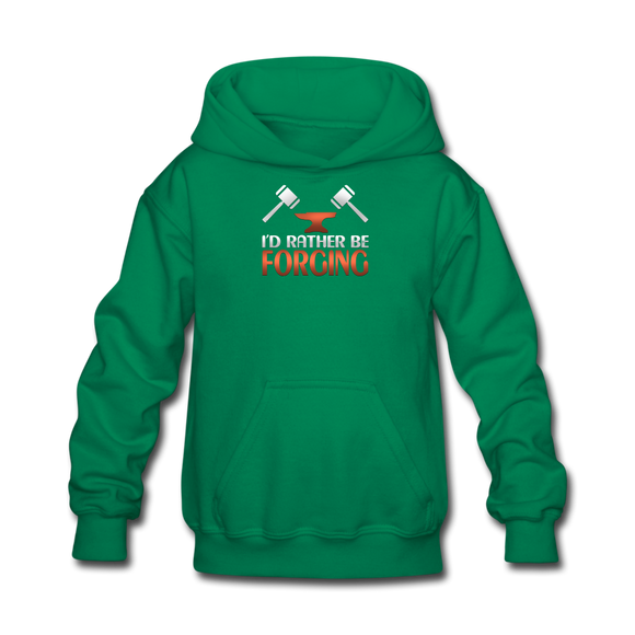 I'd Rather Be Forging Blacksmith Forge Hammer Kids' Hoodie - kelly green