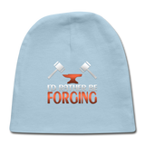 I'd Rather Be Forging Blacksmith Forge Hammer Baby Cap - light blue