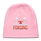I'd Rather Be Forging Blacksmith Forge Hammer Baby Cap - light pink