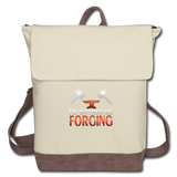I'd Rather Be Forging Blacksmith Forge Hammer Canvas Backpack - ivory/brown