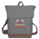 I'd Rather Be Forging Blacksmith Forge Hammer Canvas Backpack - gray/brown