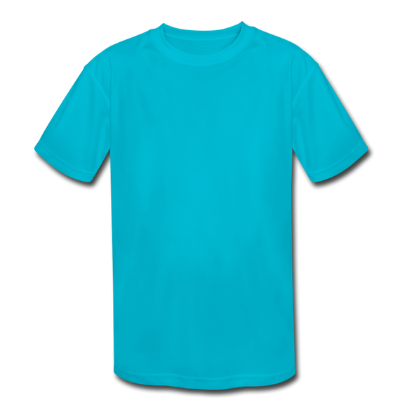 Customizable Kids' Moisture Wicking Performance T-Shirt add your own photos, images, designs, quotes, texts and more - turquoise