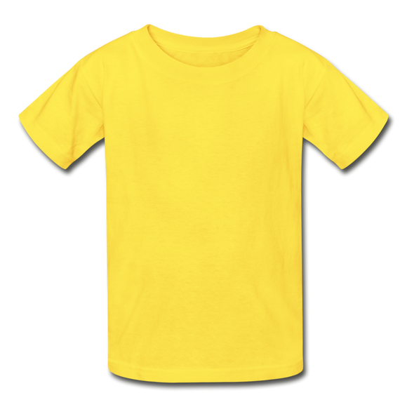 Customizable Hanes Youth Tagless T-Shirt add your own photos, images, designs, quotes, texts and more - yellow