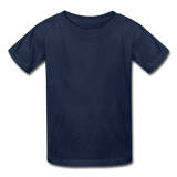 Customizable Hanes Youth Tagless T-Shirt add your own photos, images, designs, quotes, texts and more - navy