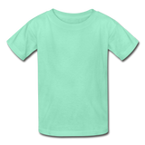 Customizable Hanes Youth Tagless T-Shirt add your own photos, images, designs, quotes, texts and more - deep mint