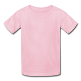Customizable Gildan Ultra Cotton Youth T-Shirt add your own photos, images, designs, quotes, texts and more - light pink