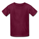 Customizable Gildan Ultra Cotton Youth T-Shirt add your own photos, images, designs, quotes, texts and more - burgundy