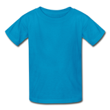 Customizable Gildan Ultra Cotton Youth T-Shirt add your own photos, images, designs, quotes, texts and more - turquoise