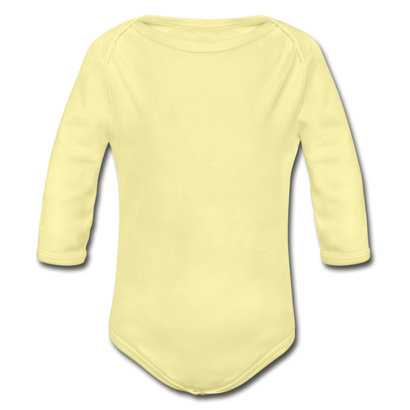 Customizable Organic Long Sleeve Baby Bodysuit add your own photos, images, designs, quotes, texts and more - washed yellow