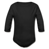 Customizable Organic Long Sleeve Baby Bodysuit add your own photos, images, designs, quotes, texts and more - black