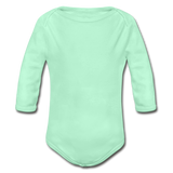 Customizable Organic Long Sleeve Baby Bodysuit add your own photos, images, designs, quotes, texts and more - light mint
