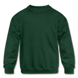 Customizable Kids' Crewneck Sweatshirt add your own photos, images, designs, quotes, texts and more - forest green