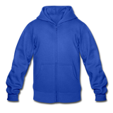 Customizable Gildan Heavy Blend Youth Zip Hoodie add your own photos, images, designs, quotes, texts and more - royal blue