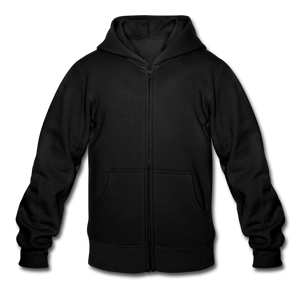 Customizable Gildan Heavy Blend Youth Zip Hoodie add your own photos, images, designs, quotes, texts and more - black