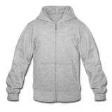 Customizable Gildan Heavy Blend Youth Zip Hoodie add your own photos, images, designs, quotes, texts and more - heather gray