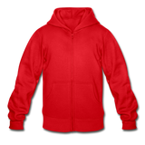 Customizable Gildan Heavy Blend Youth Zip Hoodie add your own photos, images, designs, quotes, texts and more - red