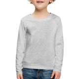 Customizable Kids' Premium Long Sleeve T-Shirt add your own photos, images, designs, quotes, texts and more - heather gray