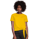 Customizable Women's Knotted T-Shirt add your own photos, images, designs, quotes, texts and more - sun yellow