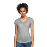 Customizable Women's Tri-Blend V-Neck T-Shirt add your own photos, images, designs, quotes, texts and more - heather gray