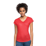 Customizable Women's Tri-Blend V-Neck T-Shirt add your own photos, images, designs, quotes, texts and more - heather red