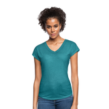 Customizable Women's Tri-Blend V-Neck T-Shirt add your own photos, images, designs, quotes, texts and more - heather turquoise