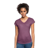 Customizable Women's Tri-Blend V-Neck T-Shirt add your own photos, images, designs, quotes, texts and more - heather plum
