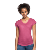 Customizable Women's Tri-Blend V-Neck T-Shirt add your own photos, images, designs, quotes, texts and more - heather raspberry