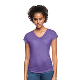 Customizable Women's Tri-Blend V-Neck T-Shirt add your own photos, images, designs, quotes, texts and more - purple heather