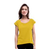 Customizable Women's Roll Cuff T-Shirt add your own photos, images, designs, quotes, texts and more - mustard yellow