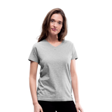 Customizable Women's V-Neck T-Shirt add your own photos, images, designs, quotes, texts and more - gray