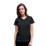 Customizable Women's V-Neck T-Shirt add your own photos, images, designs, quotes, texts and more - black