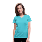 Customizable Women's V-Neck T-Shirt add your own photos, images, designs, quotes, texts and more - aqua