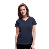 Customizable Women's V-Neck T-Shirt add your own photos, images, designs, quotes, texts and more - navy