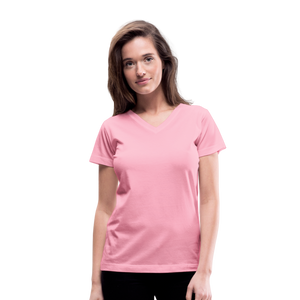Customizable Women's V-Neck T-Shirt add your own photos, images, designs, quotes, texts and more - pink