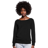 Customizable Women's Wideneck Sweatshirt add your own photos, images, designs, quotes, texts and more - black