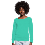 Customizable Women's Wideneck Sweatshirt add your own photos, images, designs, quotes, texts and more - teal