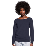 Customizable Women's Wideneck Sweatshirt add your own photos, images, designs, quotes, texts and more - melange navy