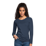 Customizable Women's Premium Long Sleeve T-Shirt add your own photos, images, designs, quotes, texts and more - navy