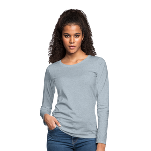 Customizable Women's Premium Long Sleeve T-Shirt add your own photos, images, designs, quotes, texts and more - heather ice blue