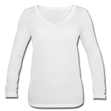 Customizable Women's Long Sleeve  V-Neck Flowy Tee add your own photos, images, designs, quotes, texts and more - white