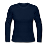 Customizable Women's Long Sleeve Jersey T-Shirt add your own photos, images, designs, quotes, texts and more - navy