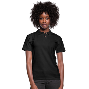 Customizable Women's Pique Polo Shirt add your own photos, images, designs, quotes, texts and more - black